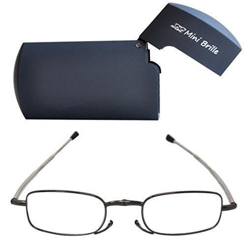 Kompakte faltbare Lesebrille aus Metall mit Teleskop-Bügeln (Graphit)| GRATIS Flip Top Etui | klappbare Faltbrille aus Metall | Lesehilfe für Damen & Herren von Mini Brille | +2.0 Dioptrien (Falt-handtasche Neue)