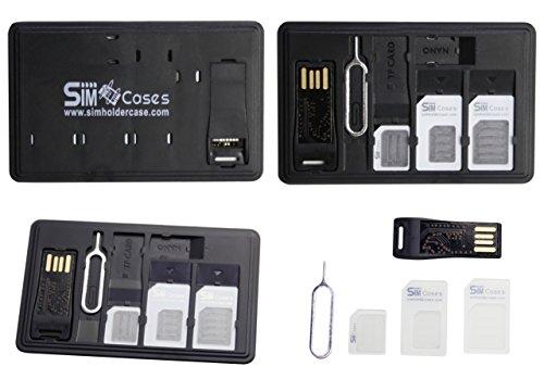 Simcases® SIM Card e micro SD card Holder Slim valigetta + 1USB lettore di schede di memoria microSD 3adattatori SIM Card 1iPhone smartphone pin ago, può contenere fino a 4schede SIM