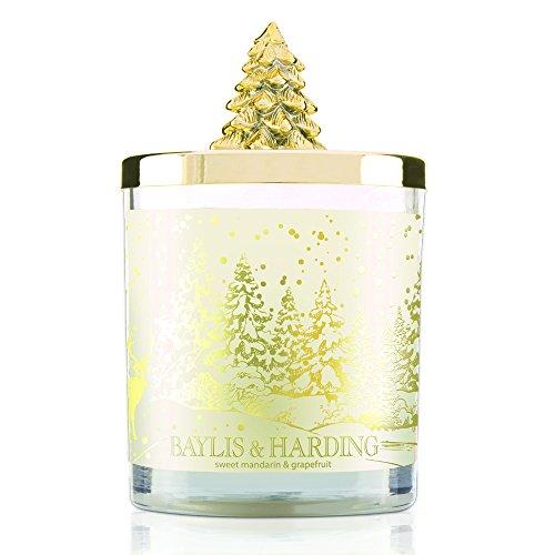 Baylis & harding sweet mandarin & grapefruit candela profumata festiva in barattolo con coperchio con albero di natale
