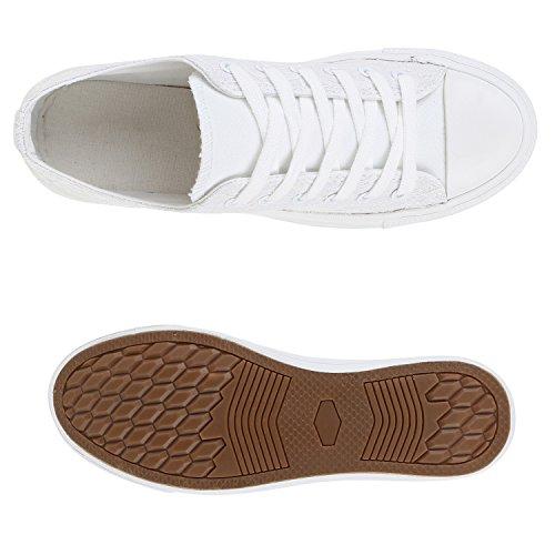 Sportliche Damen Sneakers Metallic Schuhe Schnürer Sneaker Low Spitze Turnschuhe Blumen Denim Stoffschuhe Flats Flandell Weiss Weiss Spitze