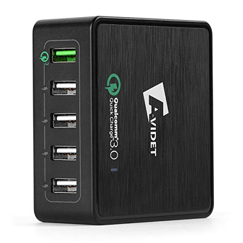 TUTUO USB Ladegerät Quick Charge 3.0 Schnellladegerät 40W 5 Ports Intelligente Ladeadapter für iPhone 8 Plus, Samsung Galaxy S8, Huawei P10 Mate 10 Pro, Google Pixel 2 XL, HTC U11, LG G6 (Schwarz) (Sony Z3 Internationale Garantie)
