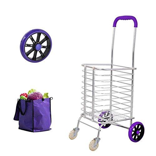 XYLUCKY Tragbare faltbare Aluminiumlegierung PU 4 Rad Kapazität Shopper Gepäckwagen, 93 cm, lila und weiß, groß , a