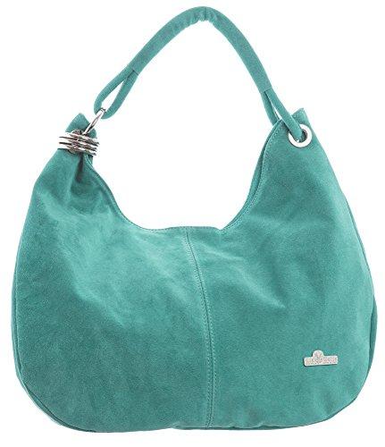 LiaTalia Große italienische Echtwildledertasche mit Einzelriemen Hobo Nietentaschemit Schutz-Aufbewahrungstasche - Fiona (Handtasche Designer Türkis Italienischen)