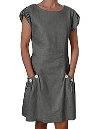 419ad733ebe1 Ansenesna Robe décontractée en Lin pour Femme avec Poche à Boutons et  Fermeture à glissière dans