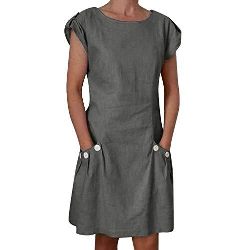 Longra-vestiti da donna in cotone e lino vestito casual a manica corta vestiti estivi donna colore solido vestito corta con doppia tasca e bottone gonna casual girocollo abito da spiaggia