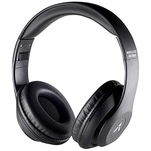 3. Adcom Shuffle Over-Ear Wireless Bluetooth Headphones with Built-in Mic, Deep Bass & Passive Noise Cancellation (Black)
