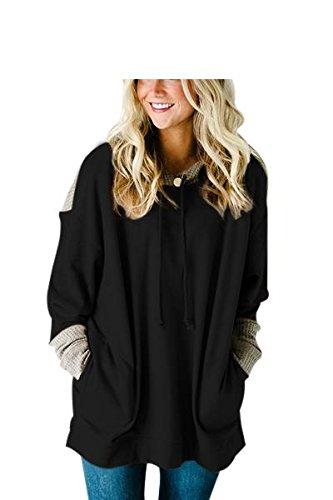 Erica Femmes lâche Knit Splice Pocket Hoodie Manches Longues Patchwork Sweater