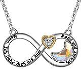 ENGSWA Damen Halskette mit Gravur Unendlichkeits Herz Kette Anhänger Mond Kristallen von Swarovski Eingelegt von LEKANI Mutter Geschenk für Mama