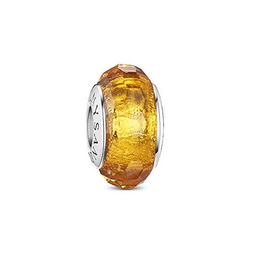 Tinysand- Decorative Charm de Perle en Verre de Murano et 925 Argent, Compatible pour Bracelets Europeens, Couleurs au Choix Jaune