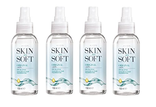 4 x 150ml Skin So Soft bouteilles spray d'Avon huile seche jojoba & citronelle - L'alternative à un insectifuge