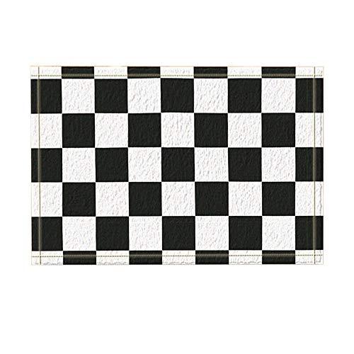 (Aliyz Graphics Decor, Schwarz-Weiß-Racing-Flag-Badteppiche, Rutschfeste Fußmatte Bodeneingänge Innen-Türmatte für Kinder, Badmatte für Kinder, 15.7x23.6 Zoll, Badzubehör (Badteppiche))