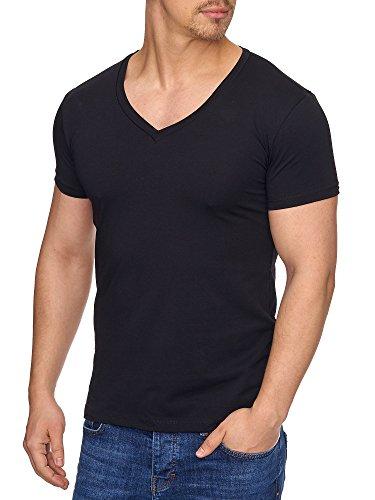 Tazzio Herren V-Kragen V-Neck T-Shirt 17100 Schwarz