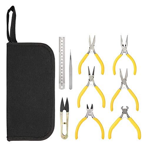 Alucy 6pcs Jewelry Making Supplies Kit, Schmuck Werkzeuge Schmuck Zangen Set Lange Gebogene Nase Zangen Machen DIY für Perlen, Draht oder Reparaturen