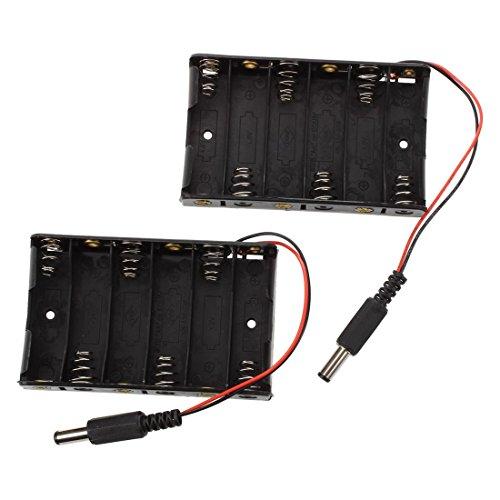 SODIAL(R) 2x Supports de piles compartiment de la batterie pour 6 pieces AA batteries avec fil conducteur
