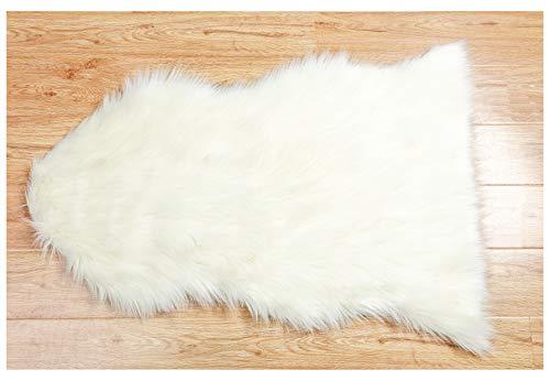 BUZIO Weiches Kunstleder Pelz Fell Stuhl, Couch, Ein Wohnzimmer Teppich für Schlafzimmer Boden Sofa, Ivory Weiß, 60x 90cm Pelz