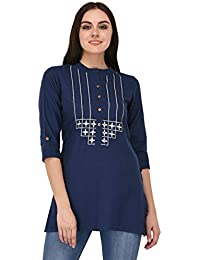 Pistaa Women's Navy Blue Embroidered Cotton Short Top Kurti With Plus Size