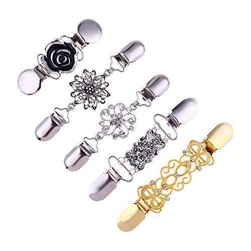 YUnnuopromi Damen Strickjacke, Kragen, Clips, Blumen-Verschluss für Kleid, Schal, Dekoration, 5 Stück Silver + Golden -