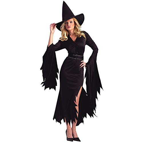 Halloween Kostüm Damen Hexe V-Ausschnitt Trompetenärmel Unregelmäßiger Kleider mit Hexenhut Oder Kopfbedeckung Karneval Party Cosplay Verkleiden Maskerade Mottoparty (M, Schwarz)