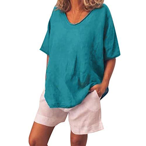 LILIGOD Frauen Beiläufiger Sommer T-Shirt Einfarbig O-Ausschnitt Bluse Kurze Groß Freizeithemd Vintage Lose T-Shirt Fashion Elegant Hemd Streetwear Böhmisches Frauen-T-Shirt -