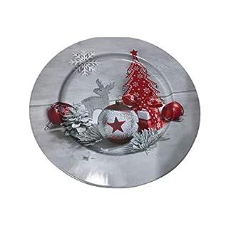 Idena 30179 – Plato de Navidad, color gris y rojo