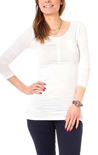 Easy Young Fashion Damen Longshirt Knopfleiste Slim Fit Weiß