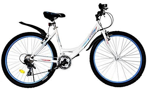 T&Y Trade 26 Zoll Kinder Mädchen Damen Fahrrad Mädchenfahrrad Mädchenrad Mountainbike MTB Bike Rad 21 Gang 4100 Weiß Blau