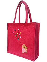 Jivisha Creations Pink Motif Print Women's/Girl's Jute Bag/carry Bag/lunch Bag/tiffin Bag/hand Bag
