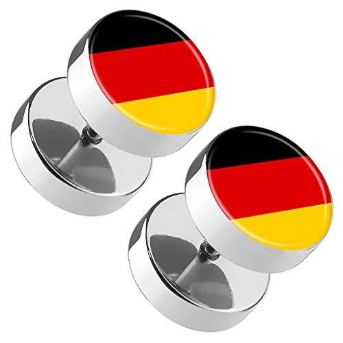 Piercingfaktor Runde Ohrringe Ohrstecker Fake Piercing Ohr Plug Flesh Tunnel Platte Stecker Fussball EM & WM Länder Flagge Fanartikel Deutschland