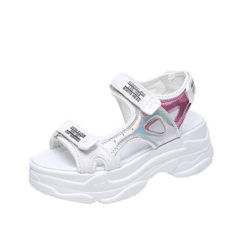 Damen Sommer Flache Sandalen Silber Glanz Hohe Plattform von Dicker Boden Schleife Haken Freizeitschuhe Sandalen Frauen - Hohen Glanz Glanz Glanz