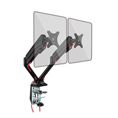 """Fleximounts F6AD Gasdruck 10""""-27"""" Tischhalterung Monitorhalter Monitorhalterung Standfuß mit 2 Armen für 2 Monitore LCD LED TV Bildschirme Flachbildschirm, Belastbarkeit:1,5-5 kg"""