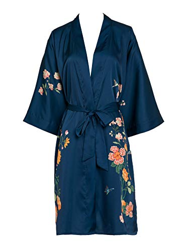 f4992171d21359 Prettystern Damen Kurz Knie-lang glänzend Satin Kimono Morgenmantel Robe  Dunkel-blau Floral K11