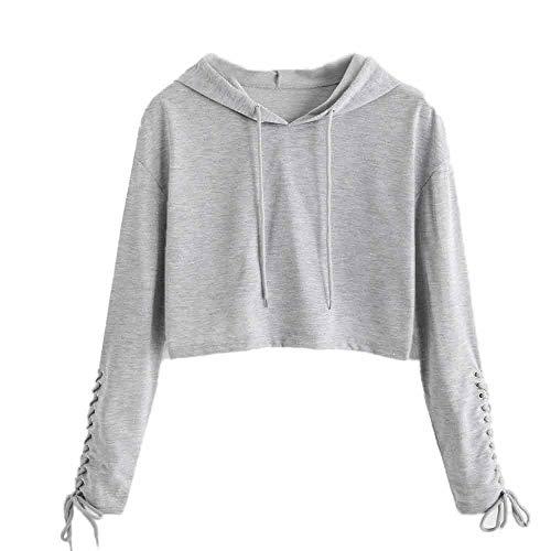 B-COMMERCE Damen Straße Schulterfrei Pullover Distressed Cropped Top Kurz Sweatershirt Cut Out Hohle Loch Langarmshirt Bauchfrei Hoodie Crop Jumper - Distressed Cropped