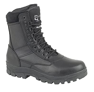 Mens Junior New Black Leather Thinsulate Lining Steel Shank Combat
