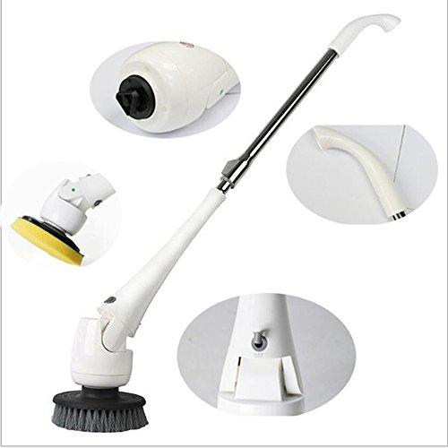 Haoxuan Power Cleaning Brush, 10.8vRechargeable Turbo Peeling Cordless Spin Scrubber, 2000mAh Lithium-Batterie mit 5 austauschbaren Bürsten Länge Verstellbar für Bad/Wanne/Boden/Küche/Fliesen