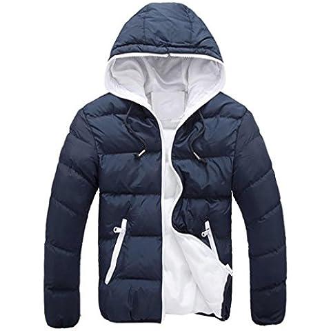 Koly Gruesos de invierno Slim Casual caliente de los hombres con capucha chaqueta (finales de otoño y principios de invierno) (Armada, M)