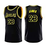 A-lee Lebron James NBA Lakers Jersey 23 James Basket Completo per Gli Uomini, Nuovo Tessuto Ricamato Camicia T-Shirt Sportive (Black, M)