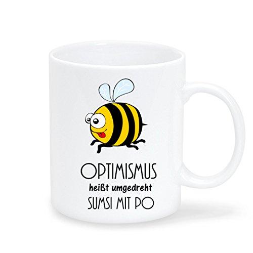 Wandtattoo-Loft Keramiktasse Optimismus Heißt umgedreht Sumsi mit Po - Tasse mit Spruch und Biene -...