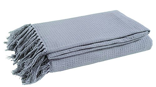 EHC 228 x 254 cm Extra Large 100 Percent Cotton Waffle 3-Seater Sofa or King Size Bed Throw, Smoke by EHC