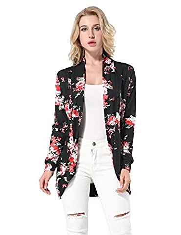 Yidarton Womens Casual Cardigans Floral Boho Tops Long Sleeve Wrap Kimono Coat Tops Flower Print