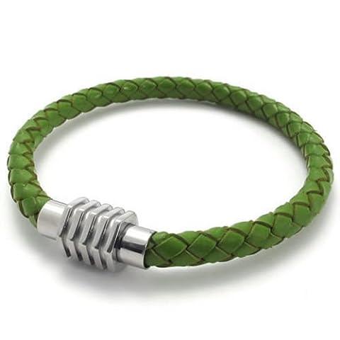 KONOV Schmuck Armband, Leder Edelstahl, Geflochten Echtleder Armreif, für Herren Damen, Grün Silber - Breite 6mm - Länge 20cm