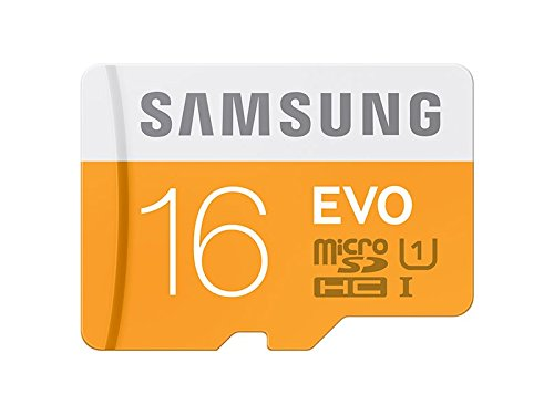 Samsung 16 GB Evo MicroSDHC UHS-I Grade 1 Class 10 Memory Card with SD Adapter (Standard Packaging) - Orange/White