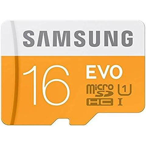Samsung Evo MB-MP16DA/EU - Tarjeta de memoria Micro SDHC de 16 GB (UHS-I Grade 1 Clase 10, con adaptador