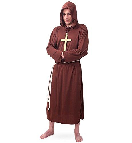 Hochwertiges Mönchskostüm für Herren | 2-teiliges Priester-Gewand bestehend aus Kapuze und Gürtel | Robe | Mönch-Kostüm | Mittelalterliches Faschingskostüm | (Large)