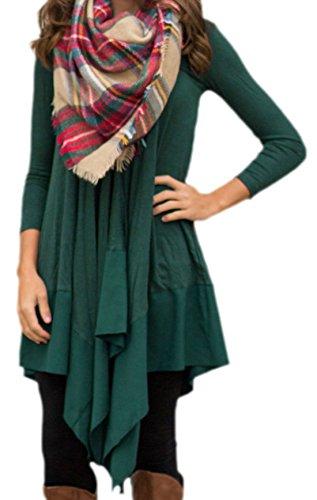 erdbeerloft - Damen Asymmetrisches Oversize Kleid, A-Linie, 34-42, Viele Farben Grün