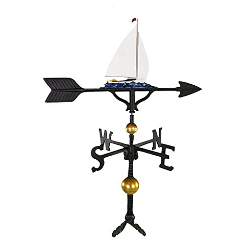 Montague Metal Products 32-Inch Deluxe Weathervane with Color Sailboat Ornament