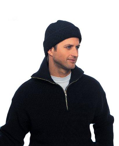 Modas Rollmütze aus Schurwolle - lang, Farbe:navyblau