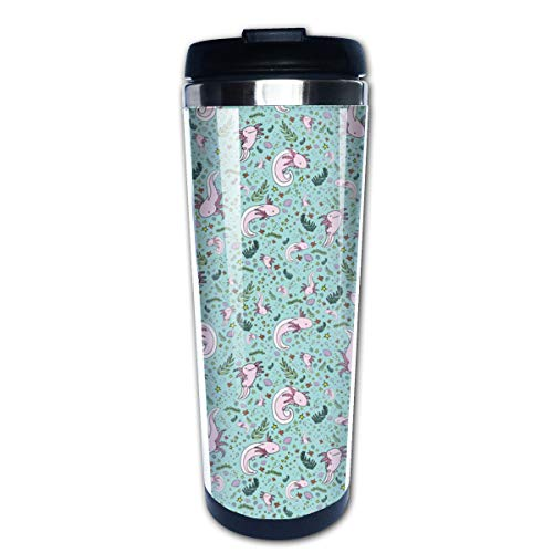 Axolotls On Blue Multi Insulated Stainless Steel Travel Mug 14 oz Classic Lowball Tumbler with Flip Lid Nissan Thermos Travel Mug