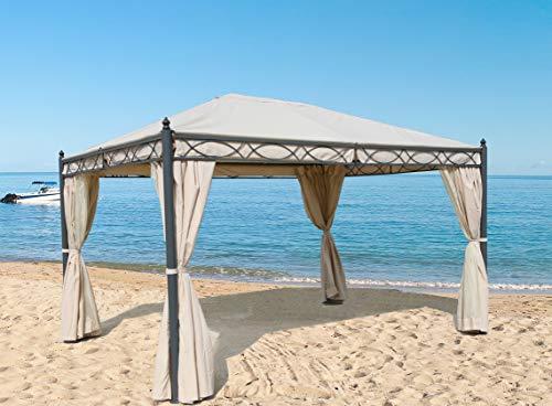 GRASEKAMP Qualität seit 1972 Garten-Pavillon ROM 3x4m mit 2 Seitenteil Sets geschlossen und mit Moskito Netz Party-Zelt Terrassen-Dach