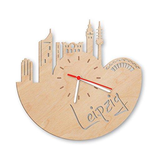 Skyline Leipzig Wanduhr aus Birken-Holz Made in Germany | Design Uhr aus Echtholz | Wand-Deko aus...
