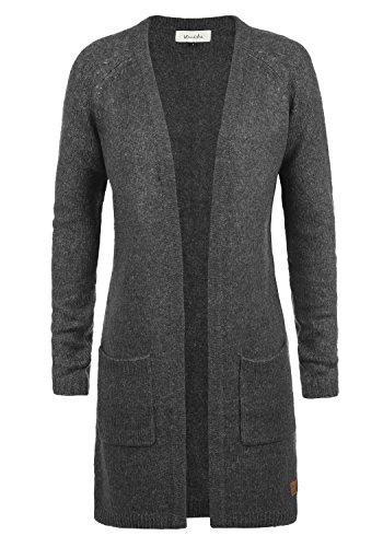 V-ausschnitt Lange Strickjacke (BLEND SHE Koko Damen Strickjacke lang Cardigan Grobstrick mit offenem V-Ausschnitt aus hochwertigem und weichem Material Meliert, Größe:L, Farbe:Dark Grey Melange (20044))